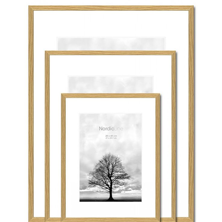 Minimalist oak Thin Danish picture frame now avilable in a variety of sizes at Designstuff.