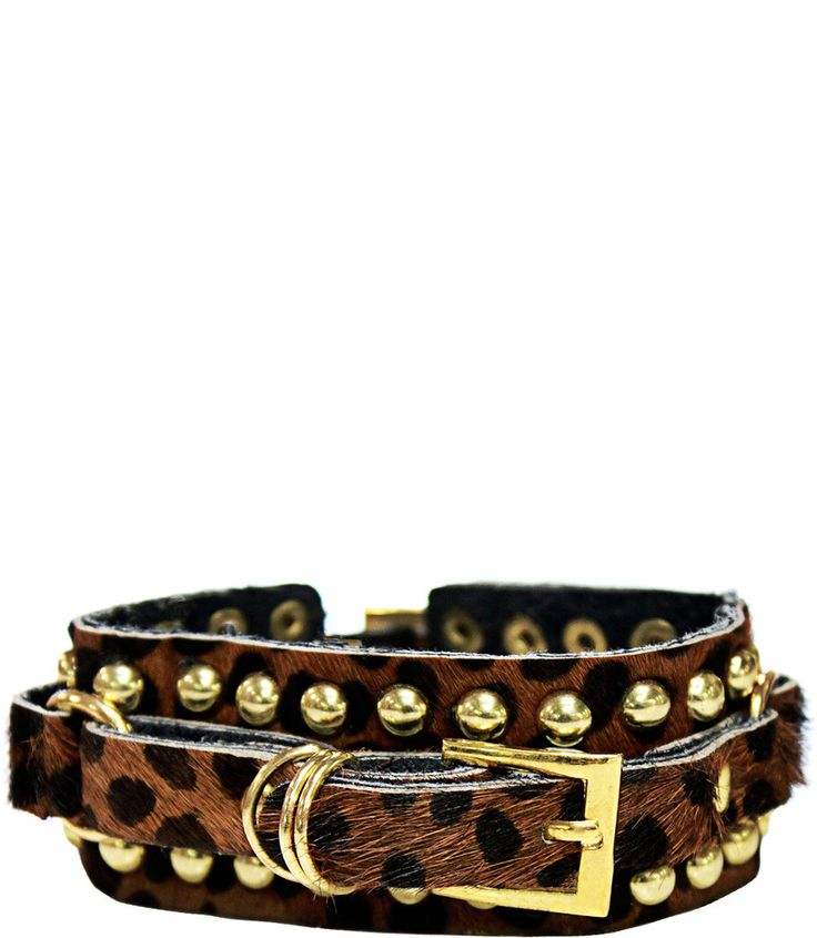 GOLD BUCKLE LEATHER BRACELET IN CHEETAH