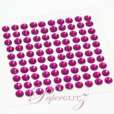 Wholesale Self-Adhesive Diamantes - 4mm Round Fuchsia - Sheet of 100