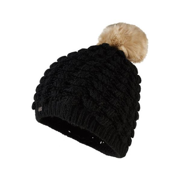 Superdry Bobble Stitch Fur Pom Pom Hat ($25) ❤ liked on Polyvore featuring accessories, hats, black, fur pom pom hat, logo hats, fur bobble hat, superdry and pompom hat