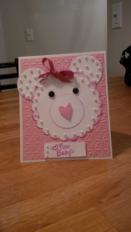 A baby card i made :) for girl and can do blue for boy