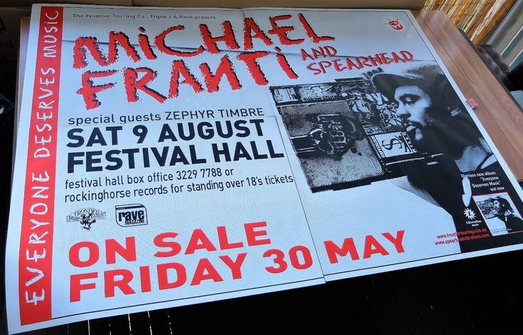 MICHAEL FRANTI and SPEARHEAD. 2003 Australian 4 Sheet Concert Tour Poster. 204 x 152cm. Sat 9 Aug 2003, Brisbane. Reggae Folk. Click Pic to find in eBay Store.