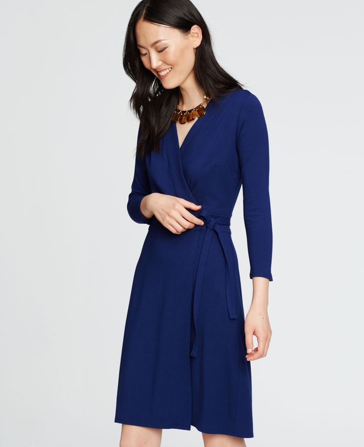 The 3/4 Sleeve Wrap Dress in Fresh Ink - Great silhouette and color.