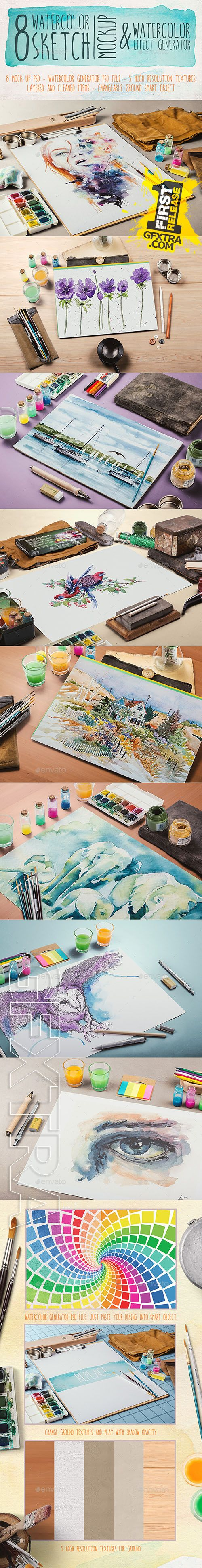 Graphicriver - Watercolor Sketch Mock Up 9008718
