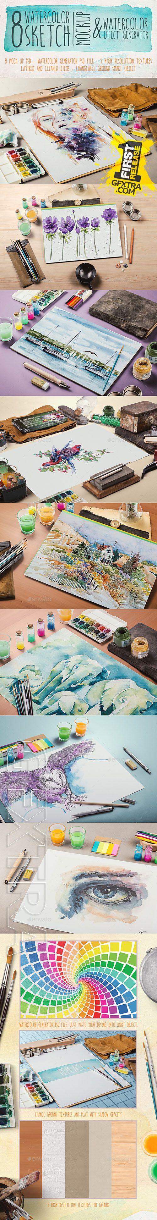 Graphicriver - Watercolor Sketch Mock Up 9008718
