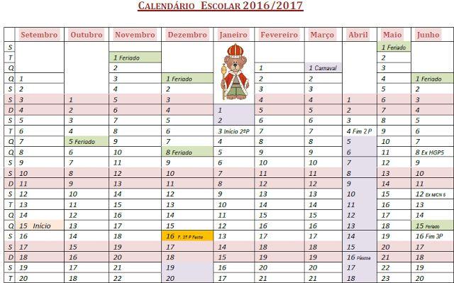 A casa da Joaninha: Calendário escolar 2016/2017                              …