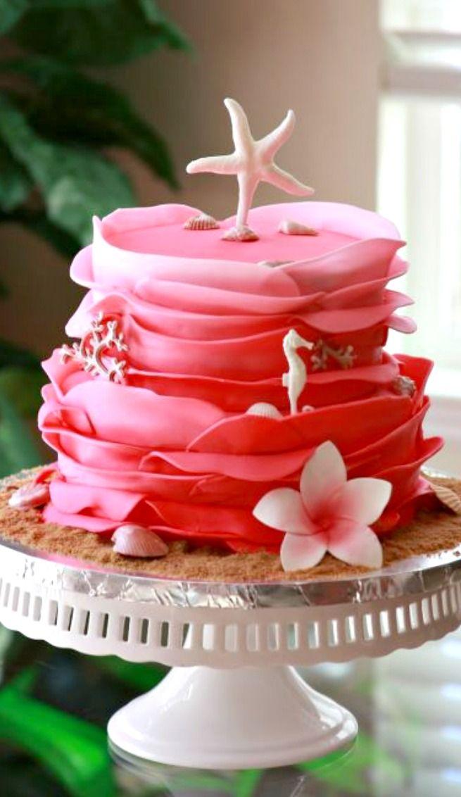 Hot Pink Beach Theme Wedding Cake