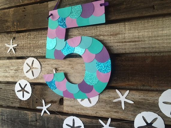Mermaid Inspired Party Paper Sign- Mermaid Party, Under the Sea, Beach Party, Birthday Party, Baby Shower, Photo Prop