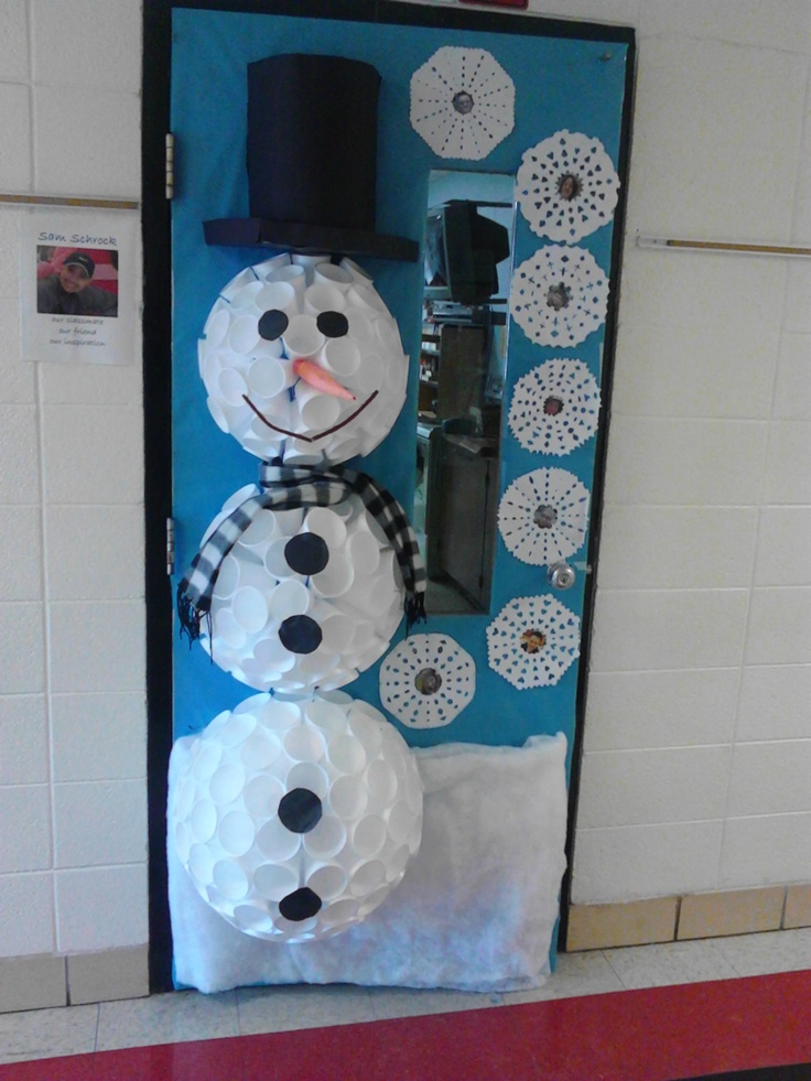 Snowman door made out of cups:  Use larger cups on the bottom, lay them flat on a table touching sides in a circle and hot glue.  Keep building it up, moving cups inward. It will make a dome. Repeat with other circles, but each circle needs to use smaller cups so the circles get smaller--that is the trick. The hat is made out of butcher paper!! My kids loved it and we Won our door decorating contest!!!!