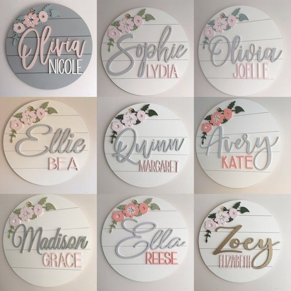 Custom Wood Name Sign | 24″ Round Sign | Floral | shiplap | Farmhouse Decor | Nursery Wall Art | Baby Shower Gift | Baby Name Sign | Girls
