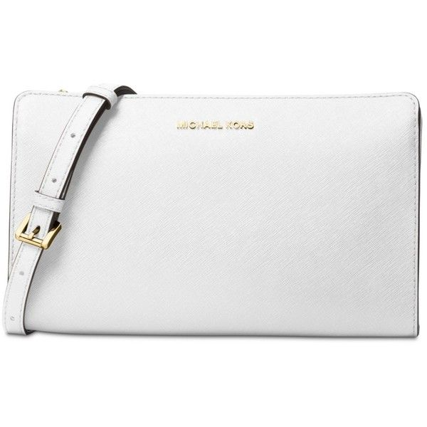 Michael Michael Kors Large Crossbody Clutch ($168) ❤ liked on Polyvore featuring bags, handbags, clutches, optic white, white purse, michael kors handbags, pocket purse, cross body strap purse and strap purse