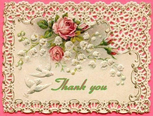 Antique Vintage  inspired Thank you note card blank inside #dandij #Thankyou