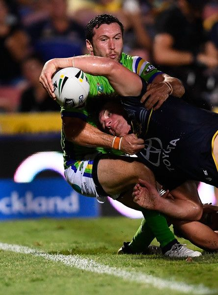 Coen Hess of the Cowboys scores a try during the round one NRL match between the North Queensland Cowboys and the Canberra Raiders at 1300SMILES Stadium on March 4, 2017 in Townsville, Australia.