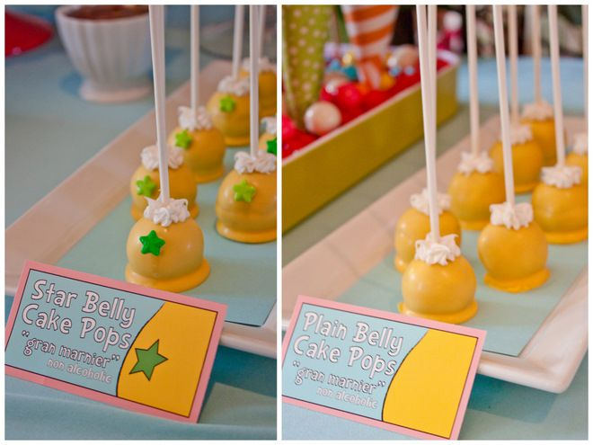 Party food based on The Sneetches: Star Belly and Plain Belly cake pops!