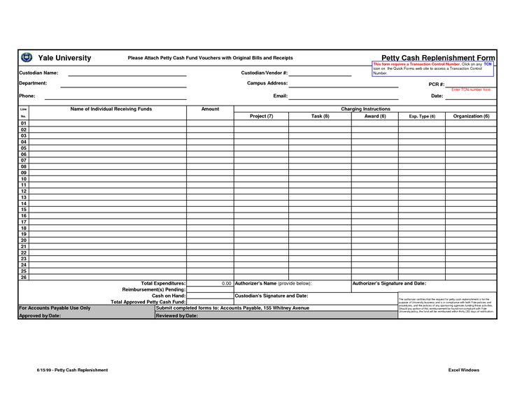 Petty Cash Form Template Excel
