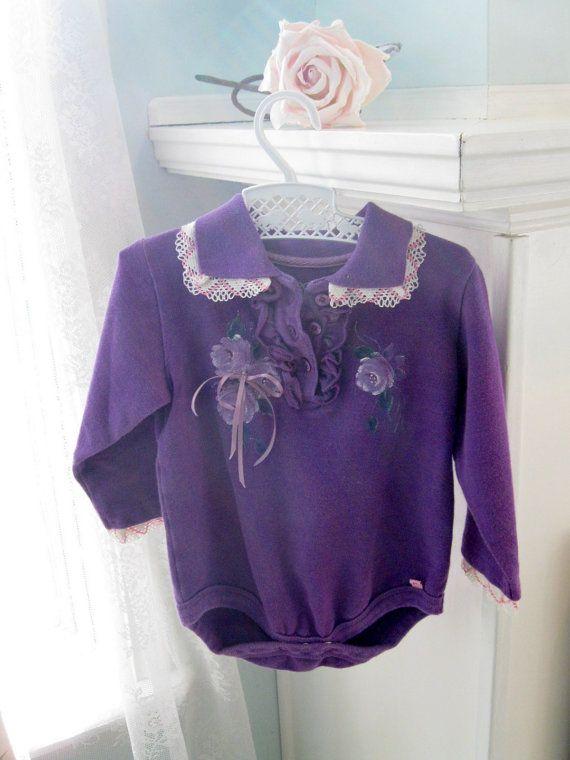 Onesie Baby Purple Painted Roses Girl 6 to 12 months by enfantjoli