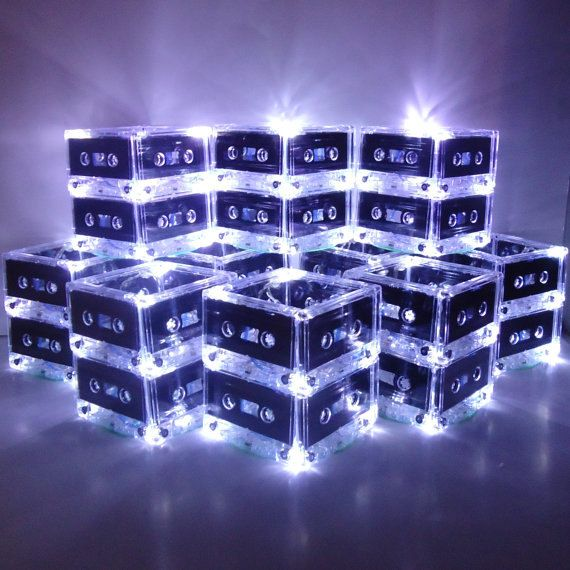 Striking and quirky, these light up cassette tapes make a perfect centerpiece for any retro or milestone birthday party!