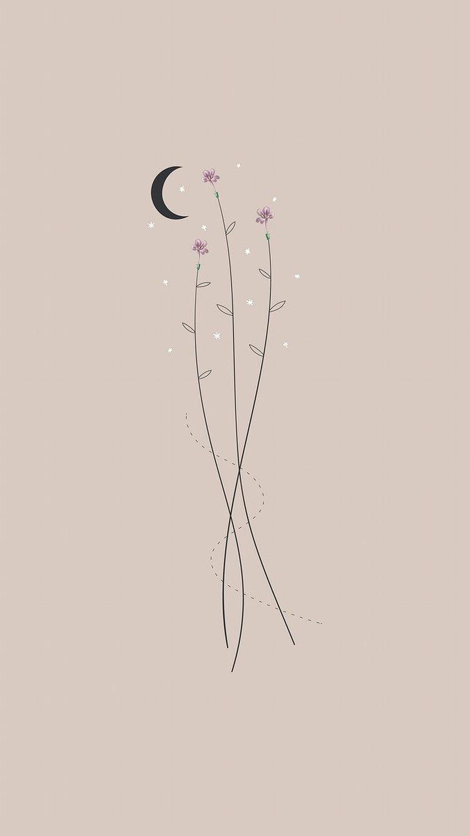 490+Download premium vector of Minimal floral galaxy design mobile ...