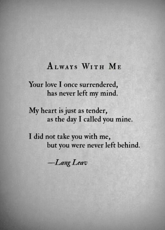 Always with me ... Lang Leav