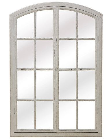 A charming large window pane mirror in wood with an aged white paint finish. Two wooden frame paned doors overlay the mirror. These are hinged and can be left closed with a metal latch, or displayed open to enhance the effect of a real window.