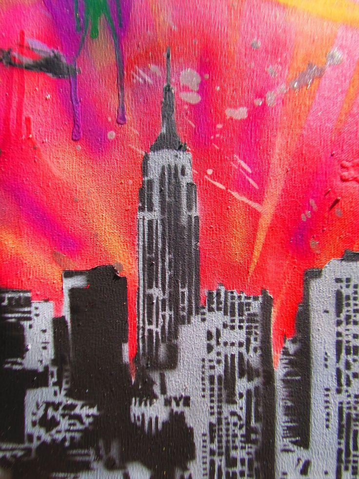 nyc skyline street art | art new york city by thestreetcanvas traditional art street art ...