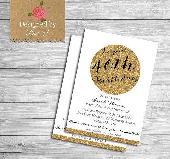 Surprise Birthday INVITATION, 40th birthday invite, adult party, 30th Birthday invitation, 50th Birthday invitation, gold glitter #etsy  #gifts