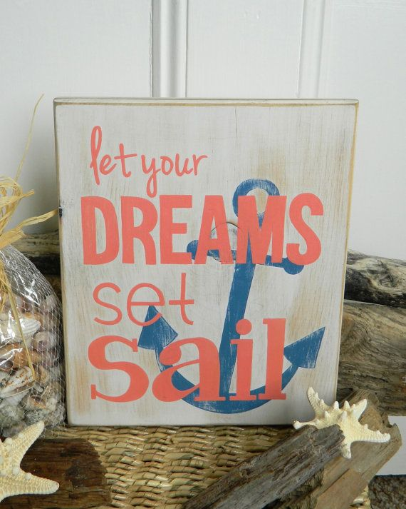 Dreams Set Sail  Beach Quote Hand Painted Wood Sign by Creaschon, $32.00