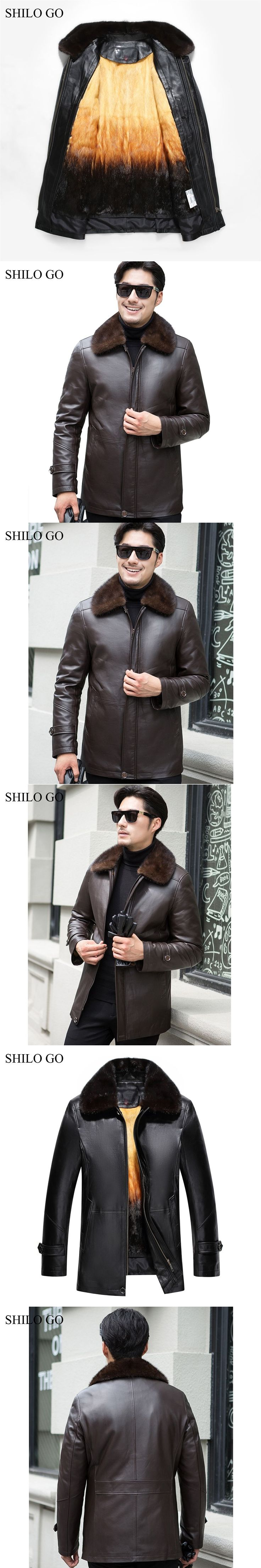 5XL New Mens Winter Black Brown Jacket leather Coats Thick Parkas Plus Size Real Mink Collar Mink Lining Outwear Fur coat