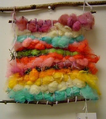 kids weaving project,wool dyed with koolaid.