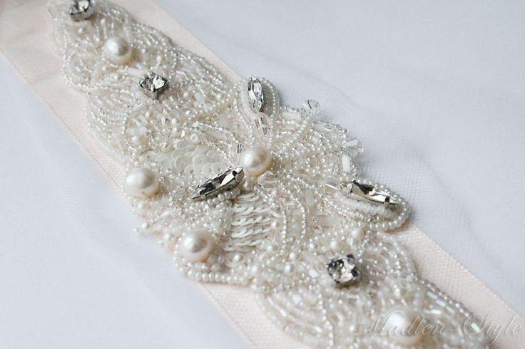 """Купить Аппликация """"Бабочка"""" - бежевый, белый, свадебная вышивка, свадебное украшение, бабочка, бисерная вышивка"""