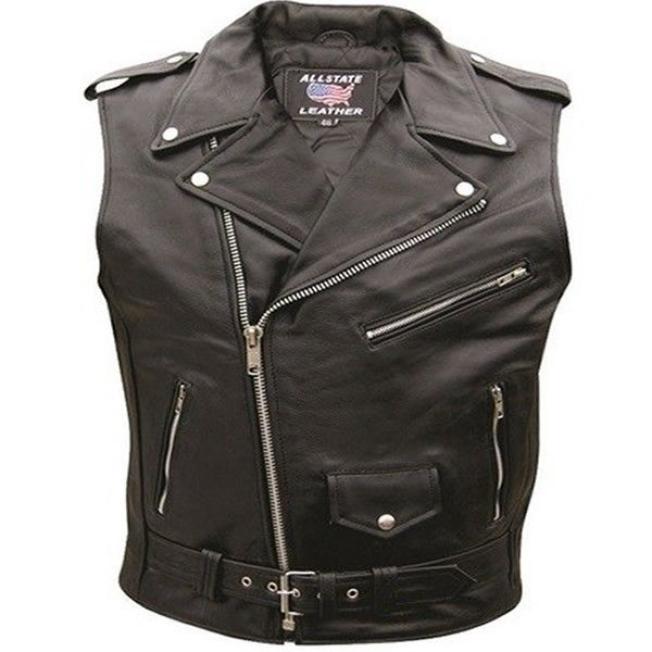 Allstate Belted Mens Leather Sleeveless Motorcycle Biker Jacket Vest comes in a classic MC biker jacket without the sleeves in solid black color, is made of genuine premium buffalo leather with a half belt with belt buckle for MC, bikers, and cruiser style motorcycle riders.