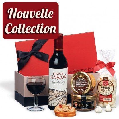 C'est un coffret gourmand raffine avec un bloc de foie gras Ducs de Gascogne accompagnees d un vin rouge et de specialites du terroir