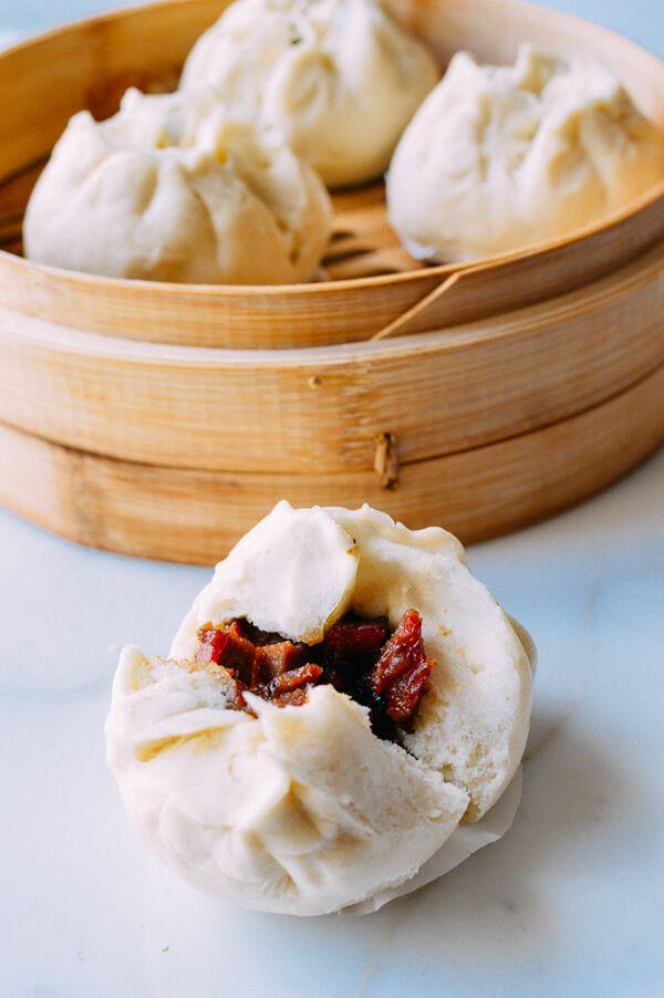 Steamed BBQ Pork Buns (Char Siu Bao), by thewoksoflife.com