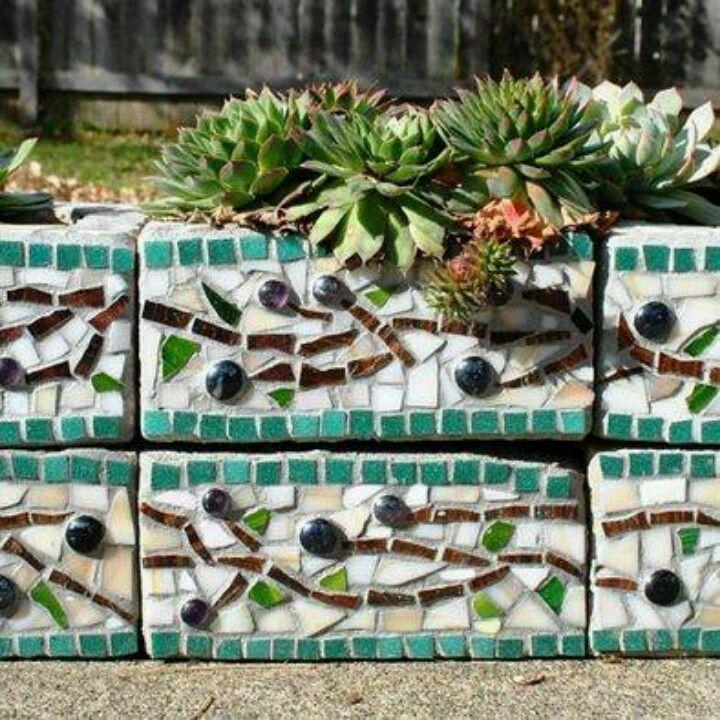 Cinder block turned mosaic planter