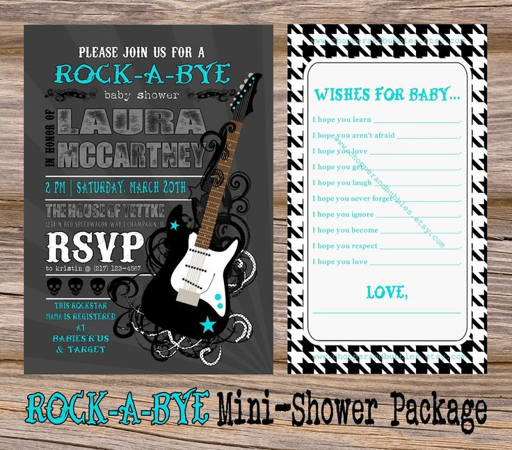 rock baby shower decorations | Rock on! The Rock-A-Bye Baby Shower Digital Mini-Printable Party ...