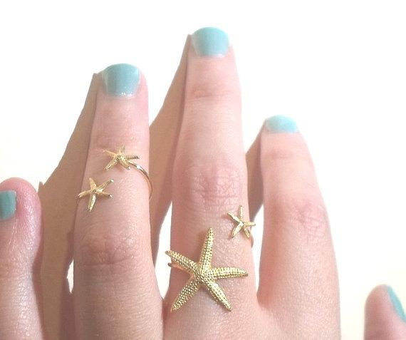 Starfish Ring Double Wrap Mermaid Statement by AWildViolet on Etsy size 8