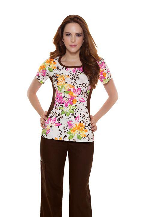 "Cherokee Flexibles ""Wild Mix"" Women's Round Neck Knit Panel Top | #springprints | #nursescrubs | #printscrubs | #cherokee"