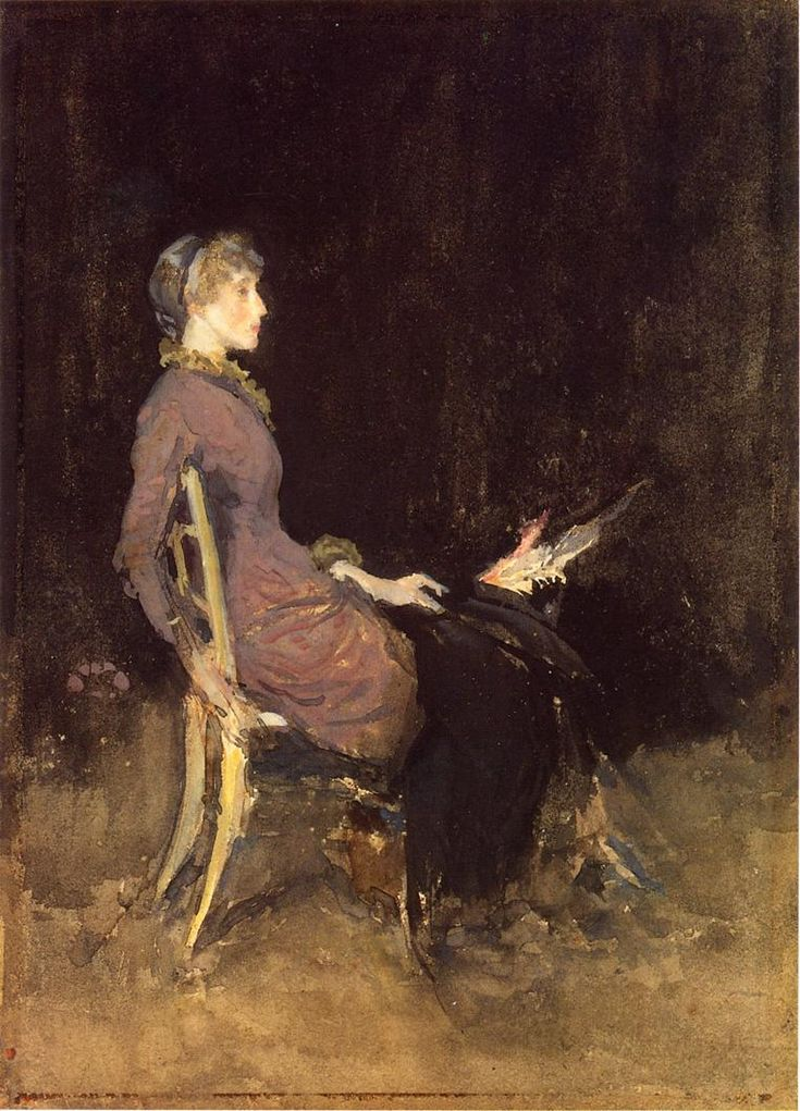 james mcneill whistler, black and red, 1884, watercolor on paper.