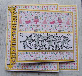 Zoals beloofd nu de kaart die ik voor mijn zwager heb gemaakt. Het vrolijke papier is van Action. De muisjes van MD en ingekleurd, het fees...