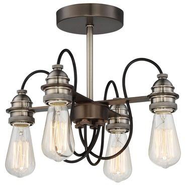 Uptown Edison Ceiling Semi Flush Light | Minka Lavery at Lightology