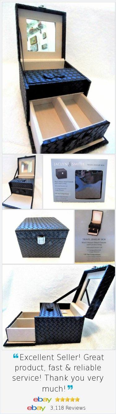 Travel Jewelry Box Black Weave PVC Faux Leather Jaclyn Smith