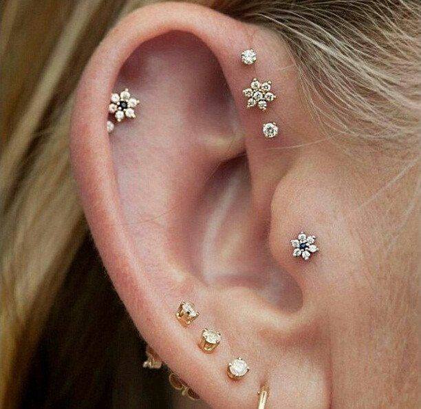 Swarovski Crystal 16G Triple Forward Helix Piercing Studs at MyBodiArt