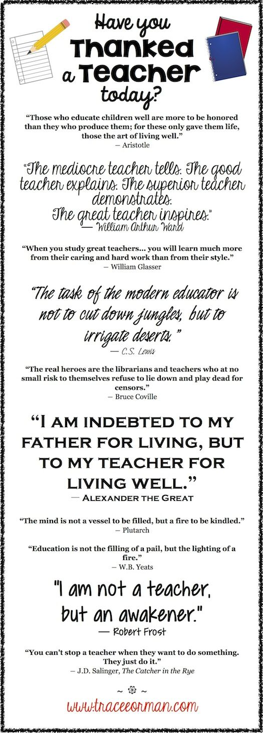 Teachers: You Are Appreciated! Click for additional quotes...