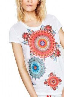Desigual bílé triko Mary s barevnými mandalami - 1399 Kč