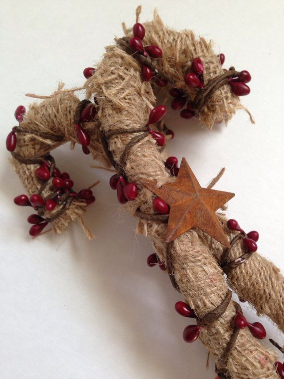 Christmas Primitive Burlap Candy Cane Ornies are perfect for a touch of Country charm. You can add this bundle of three canes to a christmas