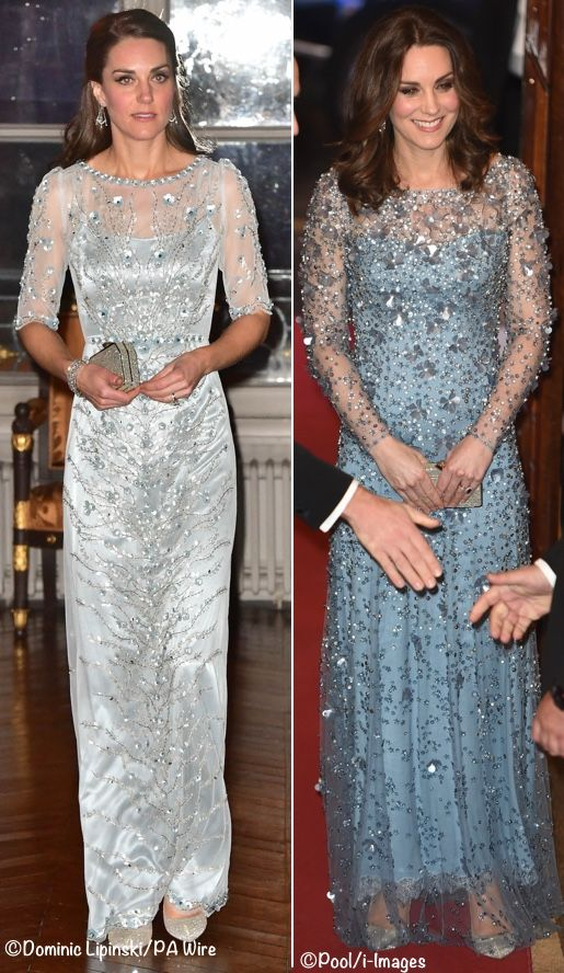 Comparison - March 2017 vs November 2017 - a pregnant Duchess Catherine glittered in a new Jenny Packhamgown at the November 2017 Royal Variety Performance (right side)