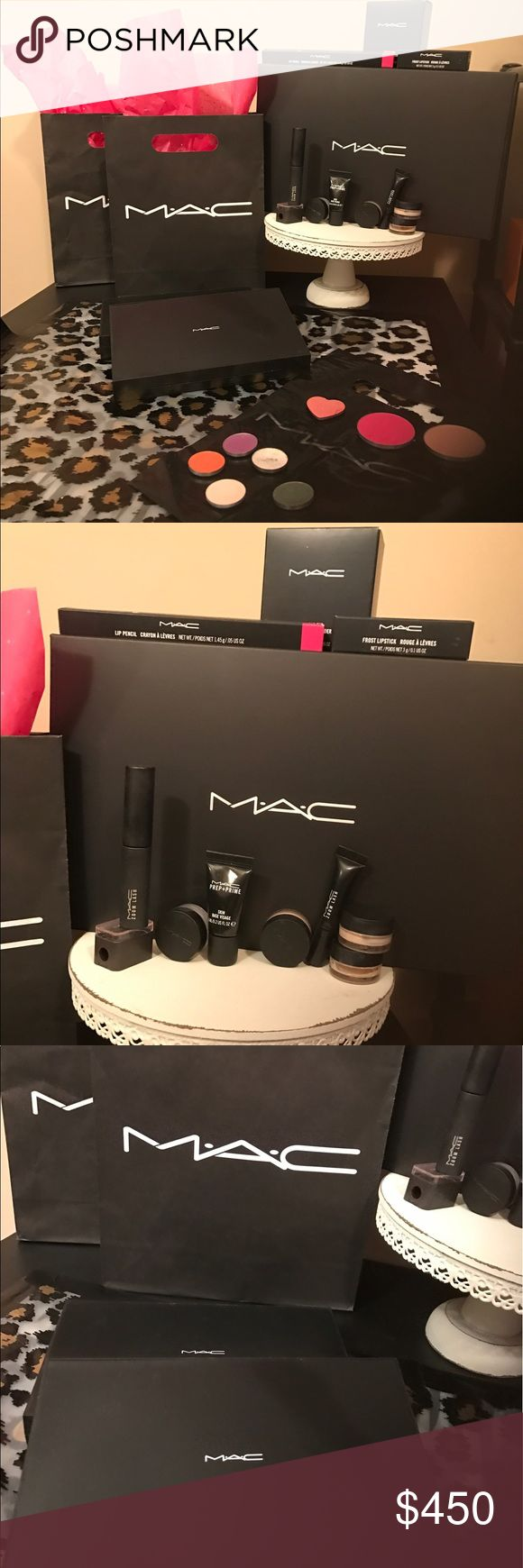 "MAC Cosmetics Bundle MAC Cosmetics Bundle includes: large Mac zoom lash mascara & a travel size (black),pencil sharpener, prep+prime, 1 large double-sided magnetic Mac palette. Several different shades of eyeshadow. More shades laid out for viewing along w/2 full size blushes (the heart is TooFaced blush) Mac full size lipstick  in ""Ruby Woo"" super popular Mac shade! 2 full size pigment shadows. +FREE Mac sample gift  w/purchase!! I will make separate listings upon request! MAC Cosmetics…"