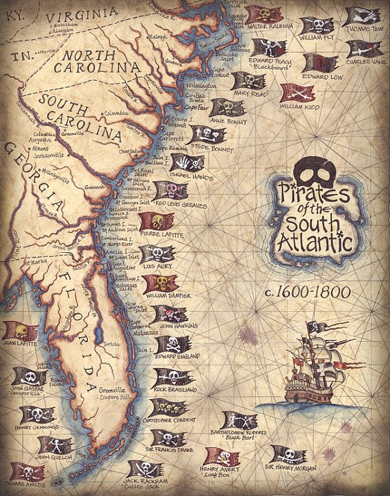 Pirates des États du sud de l'Atlantique Art Print, Art Pirate, Pirate estampes, drapeaux de Pirate, Barbe Noire, Jolly Rogers, Pirate navires Pirates Pirates of the South Atlantic States Art Print by Geographicsart