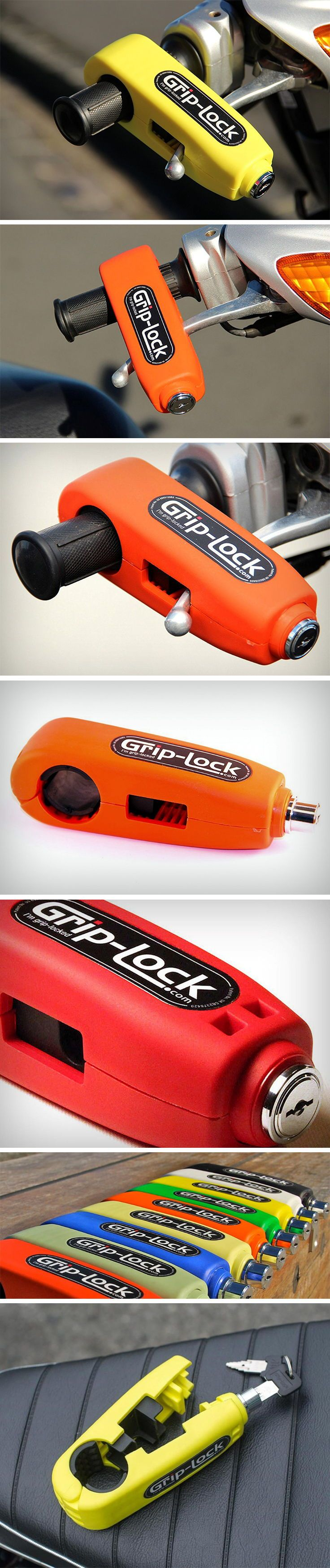 This is the Grip-lock. It's basically a physical barrier that makes motorcycle theft a literal pain in the a**. It snaps around your bike throttle and your brake stick in a rather inconspicuous manner, and can only be opened using a key. The Grip-lock's purpose is two-fold. A. Preventing the throttle from being turned, so you can't really accelerate or drive the motorcycle, and B. it presses down on your brake too, so you can't really wheel the motorcycle away too. BUY NOW!