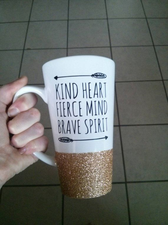 Personalized Coffee Cup  Glitter Dipped by threelovelydreamers